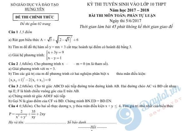 Đề thi tự luận môn Toán vào lớp 10 Hưng Yên năm 2017