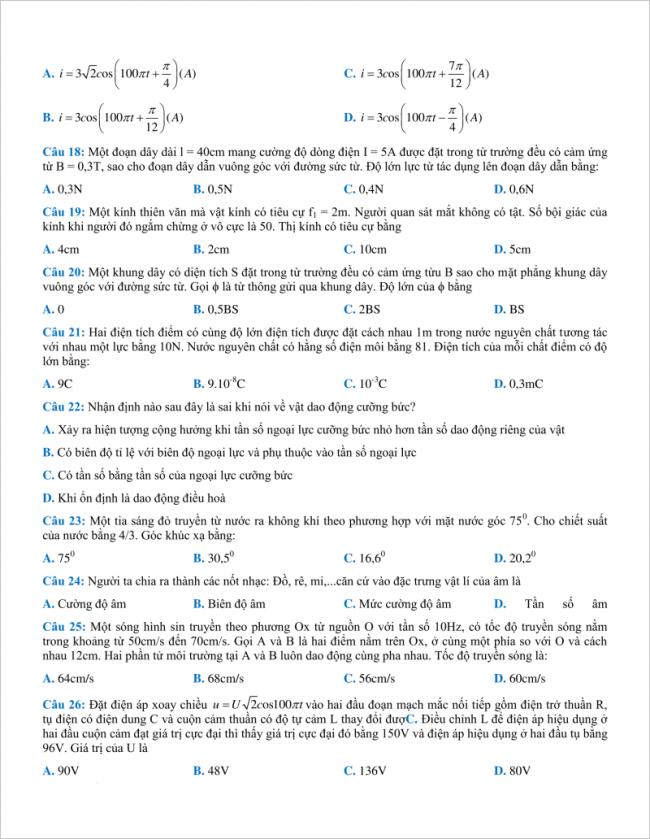 câu 18 đến 26 trang 3 đề vật lý thpt chuyên bắc ninh