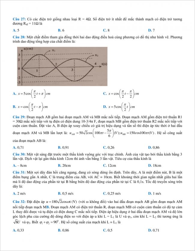 câu 27 đến 32 trang 4 đề vật lý thpt chuyên bắc ninh