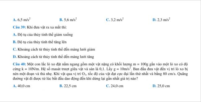 câu 39 đến 40 trang 6 đề vật lý thpt chuyên bắc ninh