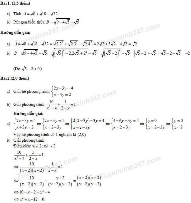 Đáp án đề thi Toán vào lớp 10 Đà Nẵng - Trang 1