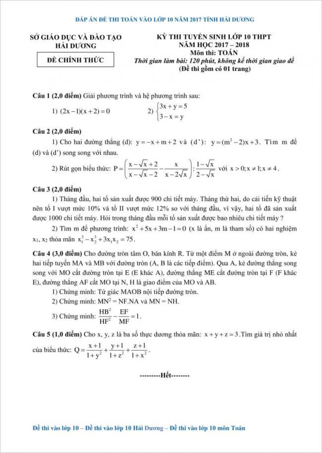 từ câu 1 đến 5 đề thi toán vào lớp 10 hải dương 2017