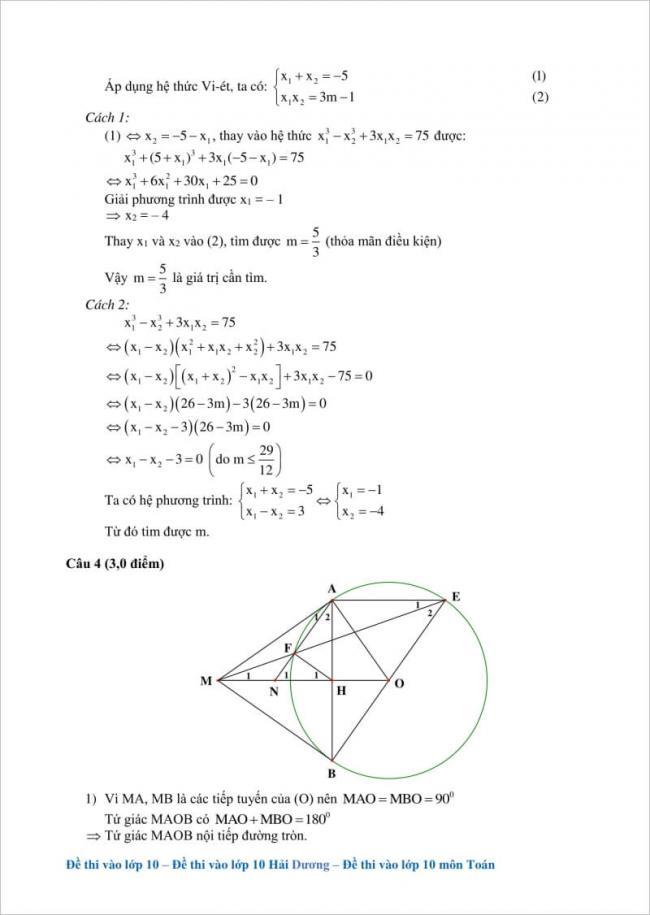 hướng dẫn giải câu 4 đề toán vào lớp 10 hải dương 2017