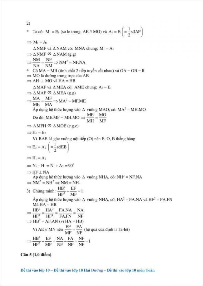 hướng dẫn giải ý 2 câu 4 đề toán vào lớp 10 hải dương