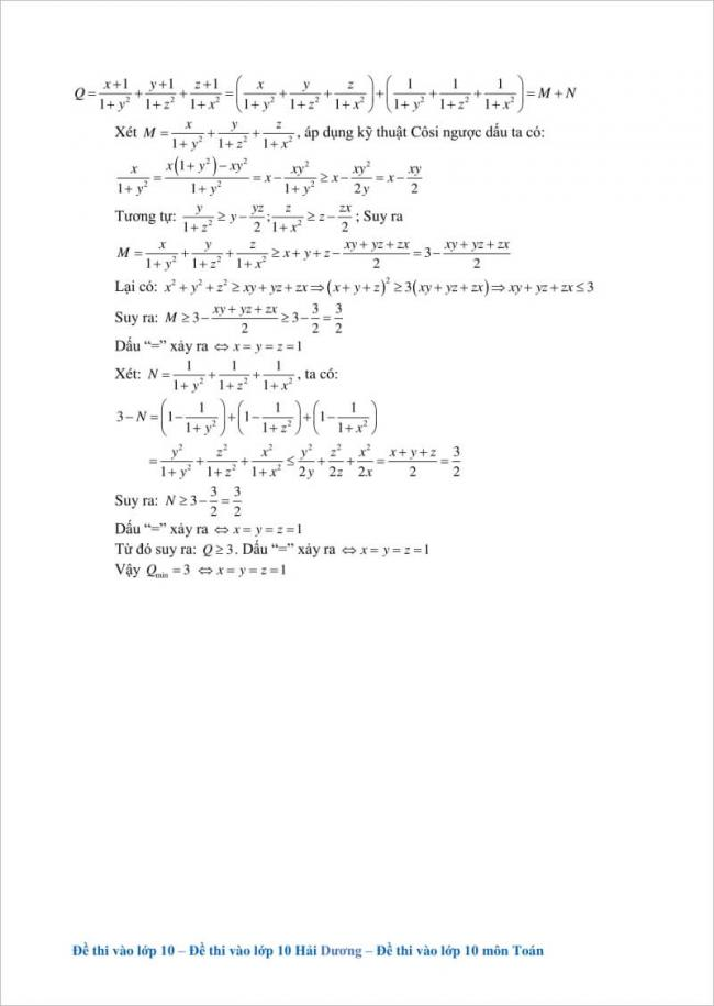hướng dẫn giải câu 5 đề toán vào lớp 10 hải dương