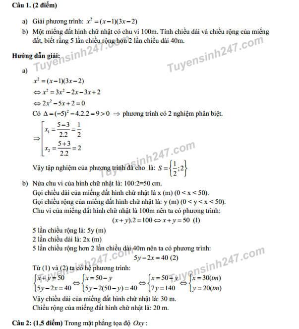 Đáp án câu 2 đề thi Toán vào lớp 10 TPHCM năm 2017