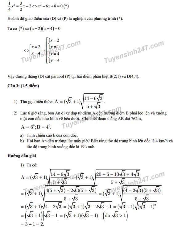 Giải tiếp câu 2 và đáp án câu 3 môn Toán