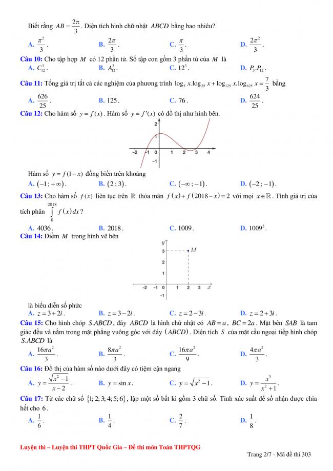 câu 10 đến 17 đề thi toán thpt đoàn kết, hà nội
