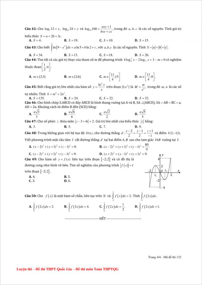 câu 42 đến 50 trang 4 đề toán thpt hải an, hải phòng