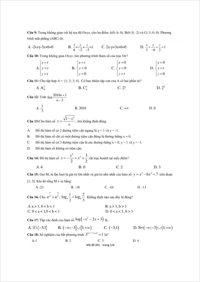 câu 9 đến 18 trang 2 đề toán thpt lý thánh tông