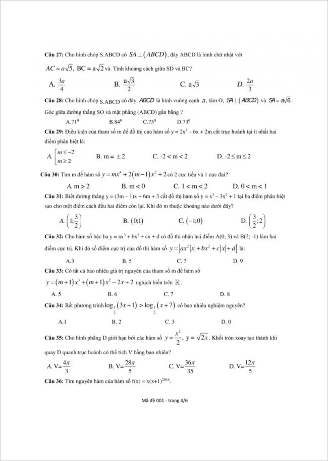 câu 27 đến 36 trang 4 đề toán thpt lý thánh tông