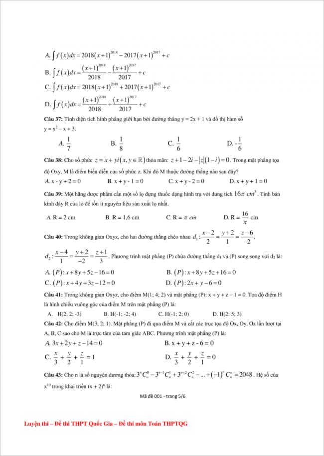 câu 37 đến 43 trang 5 đề toán thpt lý thánh tông