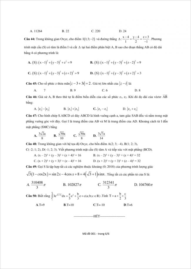 câu 44 đến 50 trang 6 đề toán thpt lý thánh tông