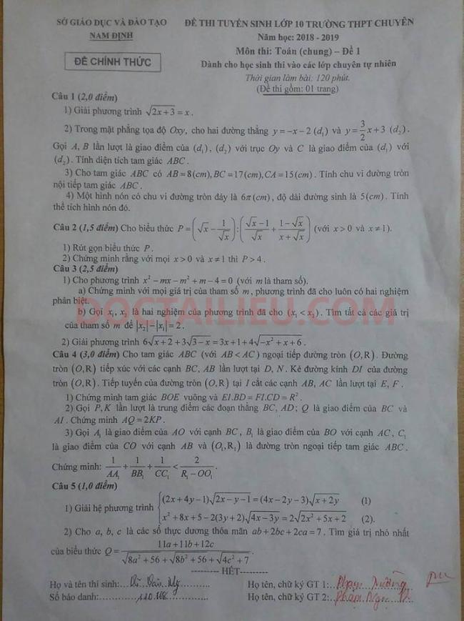 Đề 1 môn toán lớp 10 Lê Hồng Phong 2018/2019