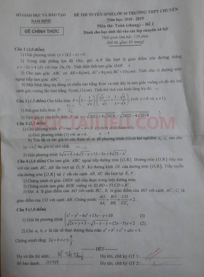 Đề thi số 2 môn toán Lê Hồng Phong