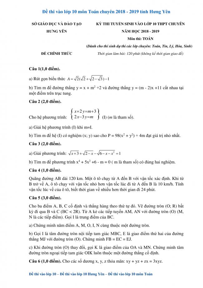 câu 1 đến 5 trang 1 đề toán lớp 10 hưng yên 2018