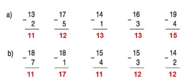 Đáp án bài 1 trang 110 sgk toán lớp 1