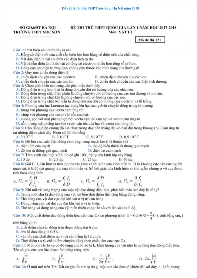 đề từ câu 1 đến 12 môn vật lý thpt sóc sơn, hà nội