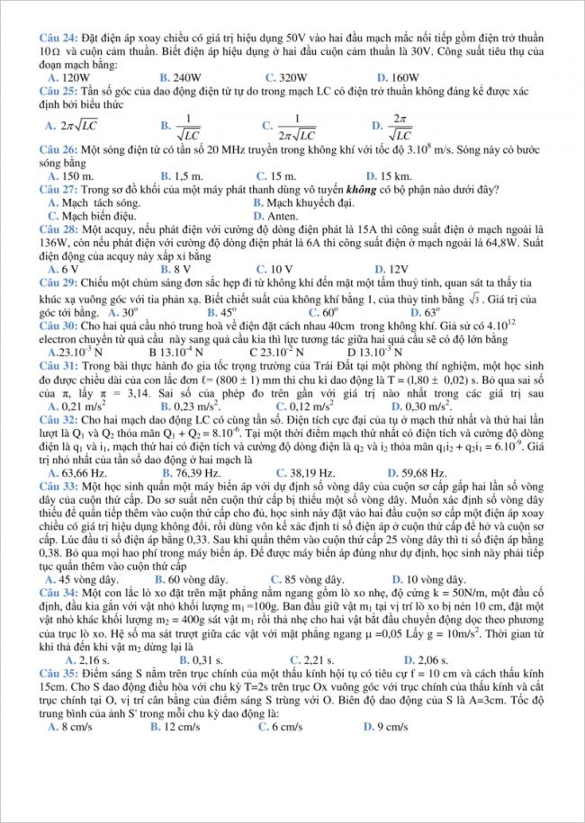 đề từ câu 24 đến 35 môn vật lý thpt sóc sơn, hà nội