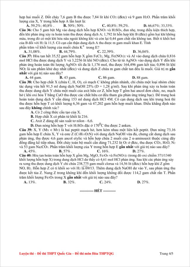 câu 36 đến 40 trang 4/5 đề hóa thpt chuyên lam sơn 2018
