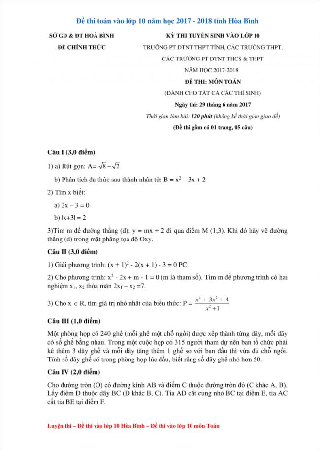 câu 1 đến câu 4 trắc nghiệm toán vào lớp 10 hòa bình