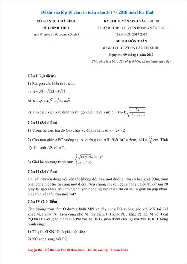 câu I đến câu IV đề toán chuyên hòa bình 2017