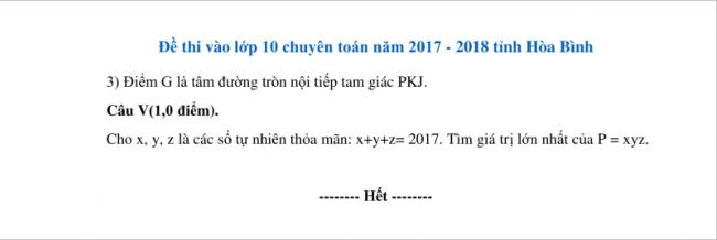 câu V đề toán chuyên hòa bình 2017