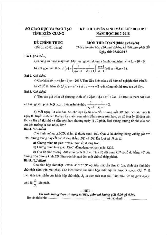 đề bài câu 1 đến câu 5 môn toán thi vào lớp 10 kiên giang 2017