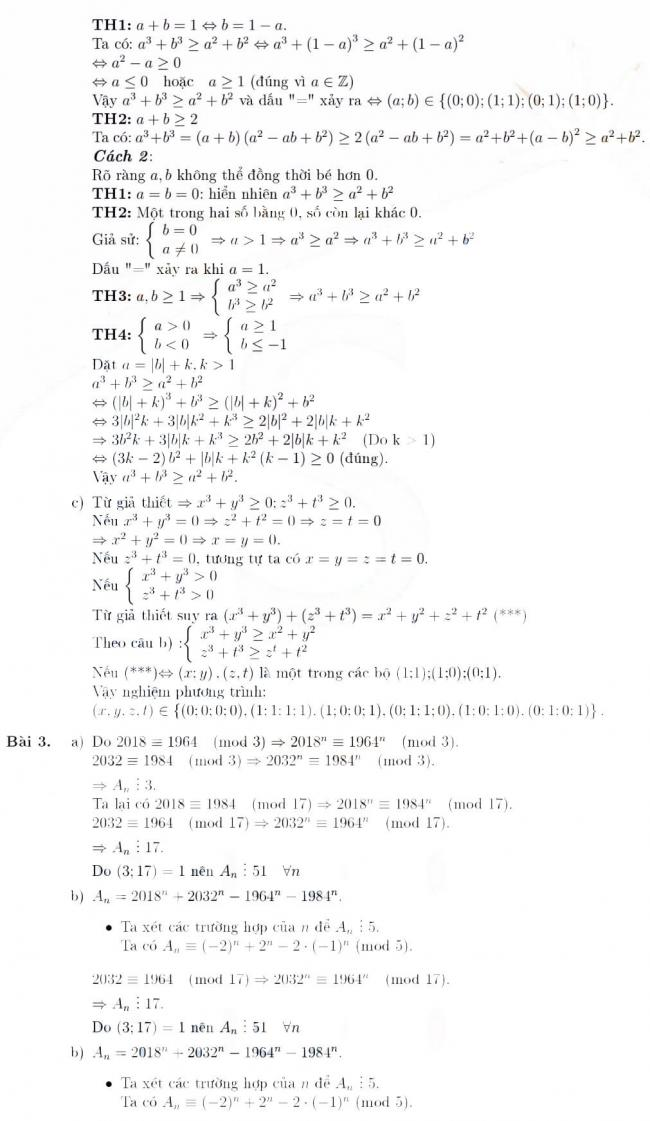 Đáp án câu 2 và câu 3 đề thi Toán chuyên vào lớp 10 Phổ thông Năng khiếu