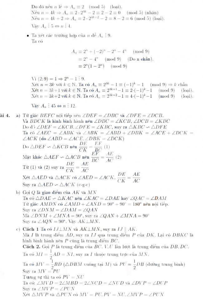 Đáp án câu 3 và câu 4 đề thi Toán chuyên vào lớp 10 Phổ thông Năng khiếu