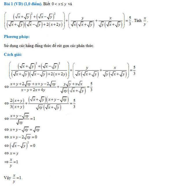 đáp án bài 1 đề thi toán không chuyên vào lớp 10 trường PTNK