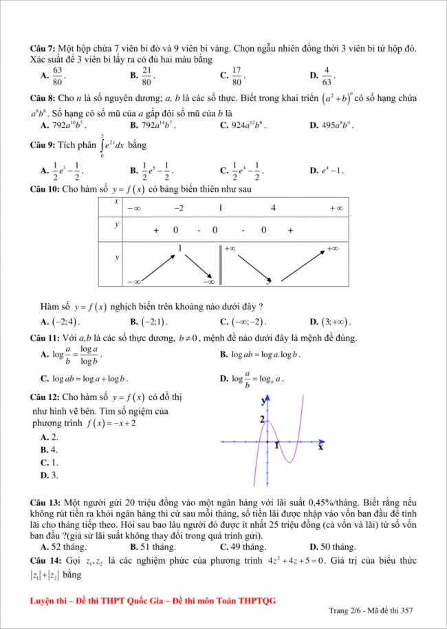 câu 7 đến 14 trang 2 đề thi thử toán thpt yên thành