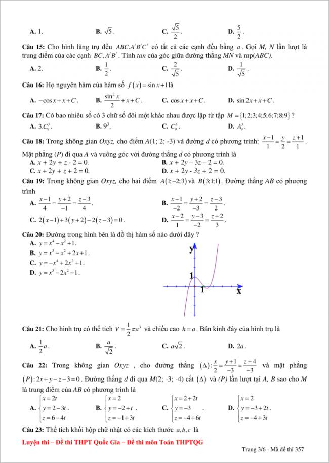 câu 15 đến 23 trang 3 đề thi thử toán thpt yên thành