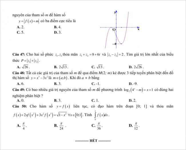 câu 47 đến 50 trang 6 đề thi thử toán thpt yên thành