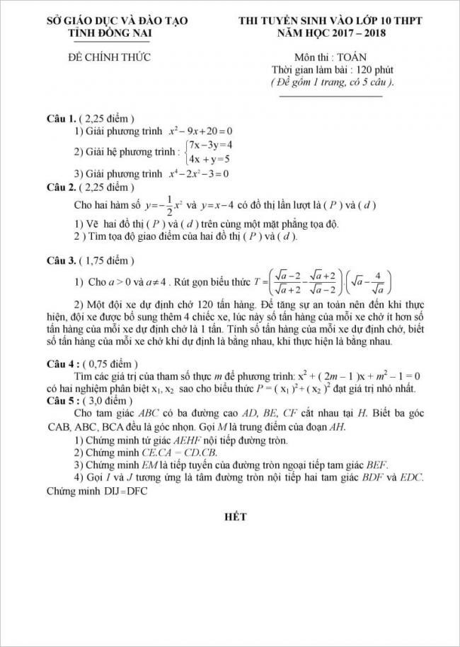 đề thi toán vào lớp 10 Đồng Nai 2017