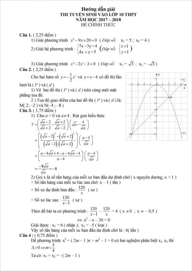 đáp án đề thi môn toán vào lớp 10 đồng nai 2017