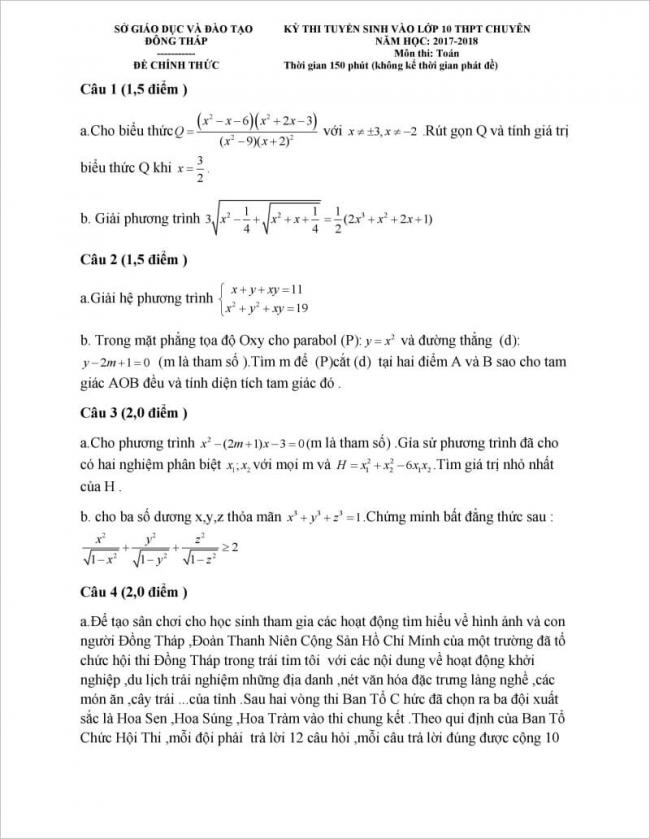 đề thi môn toán vào lớp 10 đồng tháp năm 2017