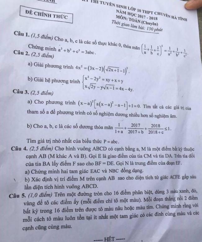 đề thi vào lớp 10 chuyên Toán năm 2017 tỉnh Hà Tĩnh