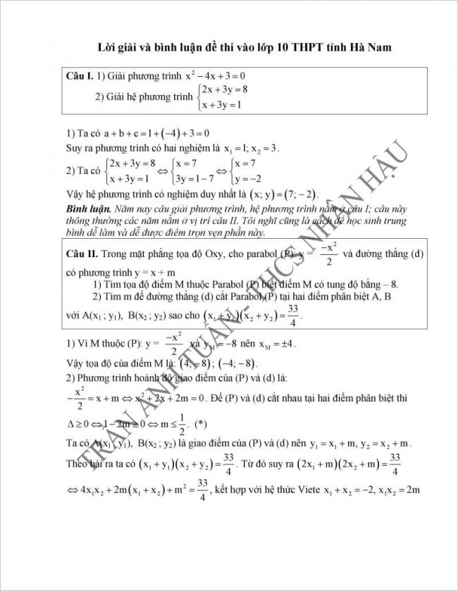 đáp án câu 1,2 đề thi vào lớp 10 môn toán tỉnh Hà Nam 2017