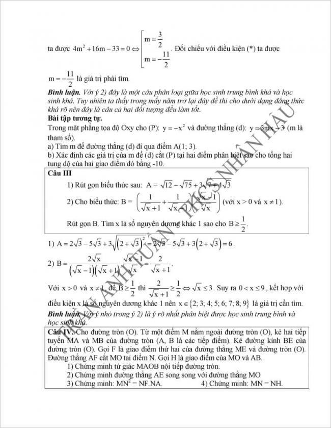 đáp án câu 3, 4 đề thi vào lớp 10 môn toán tỉnh Hà Nam 2017