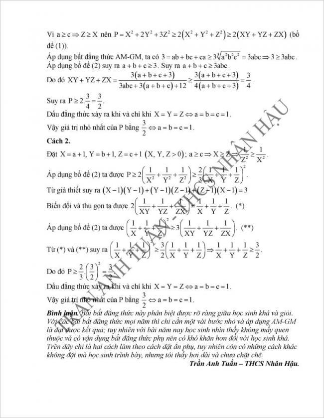 Đáp án câu 5 đề thi toán vào lớp 10 Hà Nam 2017( cách 2)
