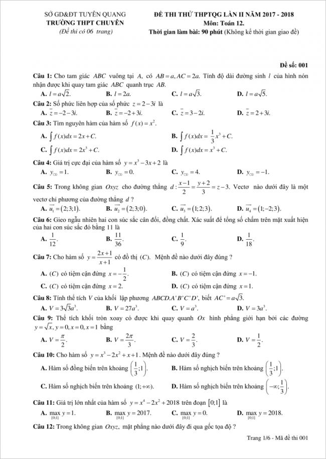 câu 1-12 trang 1 đề toán thpt chuyên tuyên quang