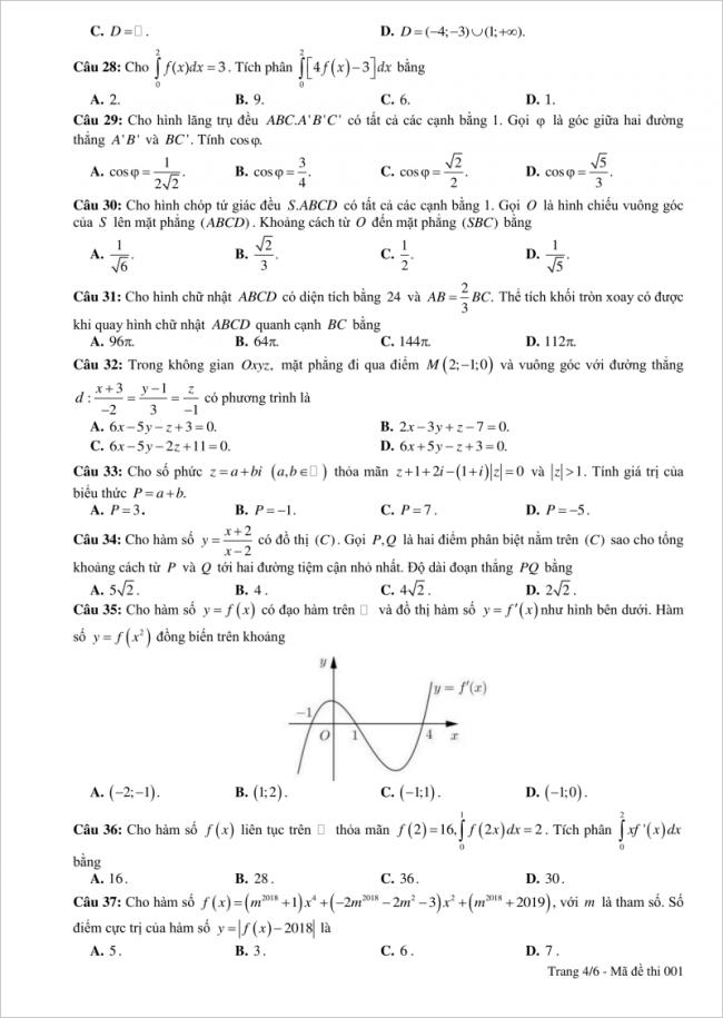 câu 28-37 trang 4 đề toán thpt chuyên tuyên quang