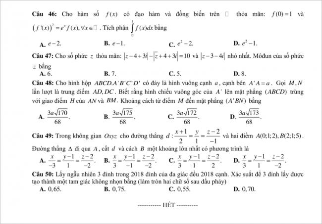 câu 46-50 trang 6 đề toán thpt chuyên tuyên quang
