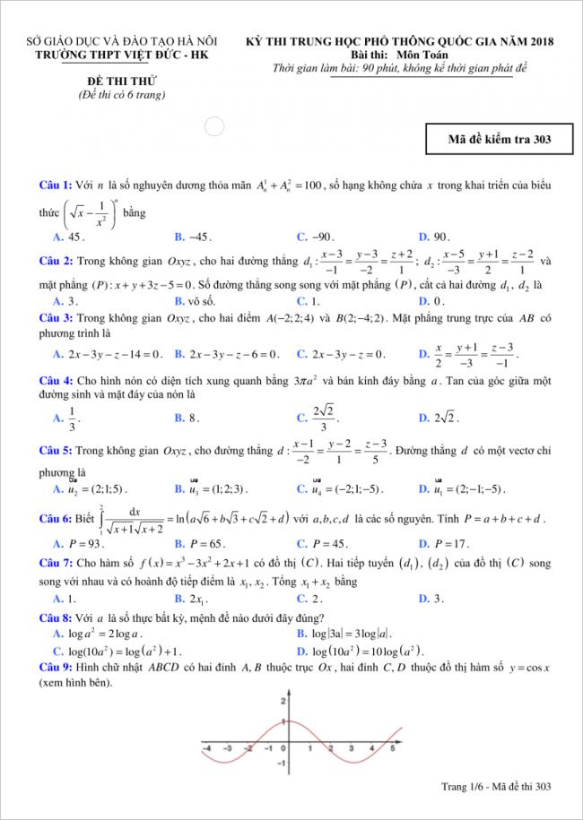 trang 1 câu 1 đến 9 đề toán thi thử thpt việt đức hn