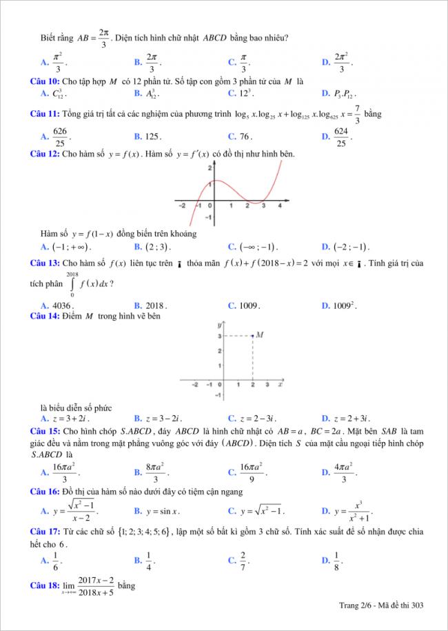 trang 2 câu 10 đến 18 đề toán thi thử thpt việt đức hn