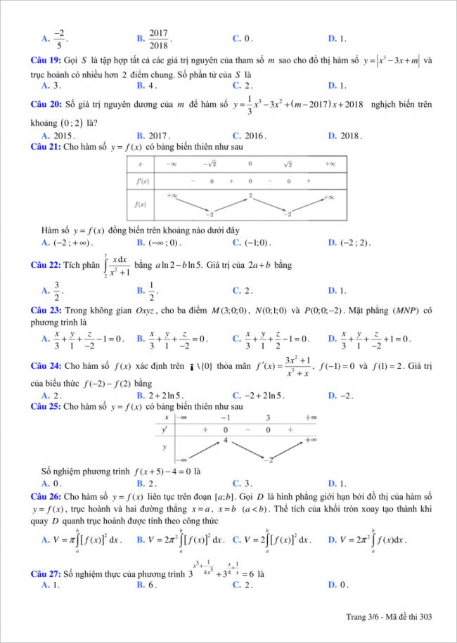 trang 3 câu 19 đến 27 đề toán thi thử thpt việt đức hn