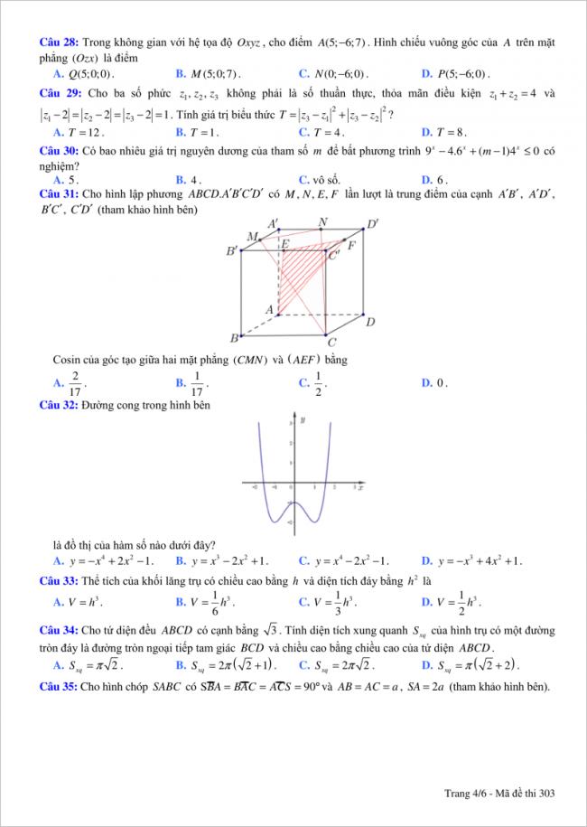 trang 4 câu 28 đến 35 đề toán thi thử thpt việt đức hn