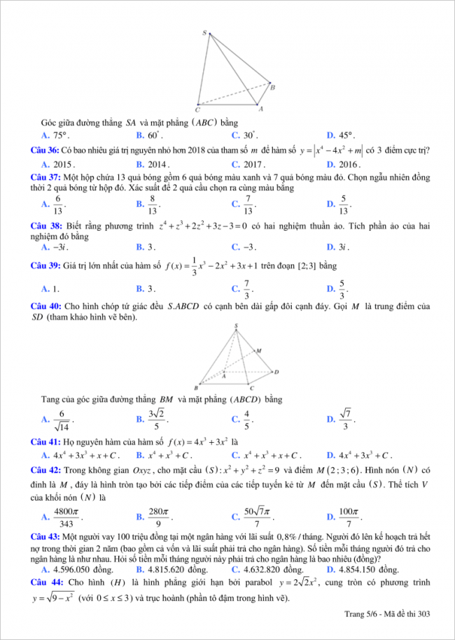 trang 5 câu 36 đến 44 đề toán thi thử thpt việt đức hn