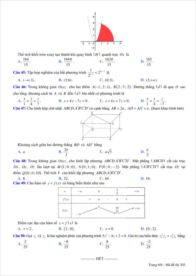 trang 6 câu 45 đến 50 đề toán thi thử thpt việt đức hn